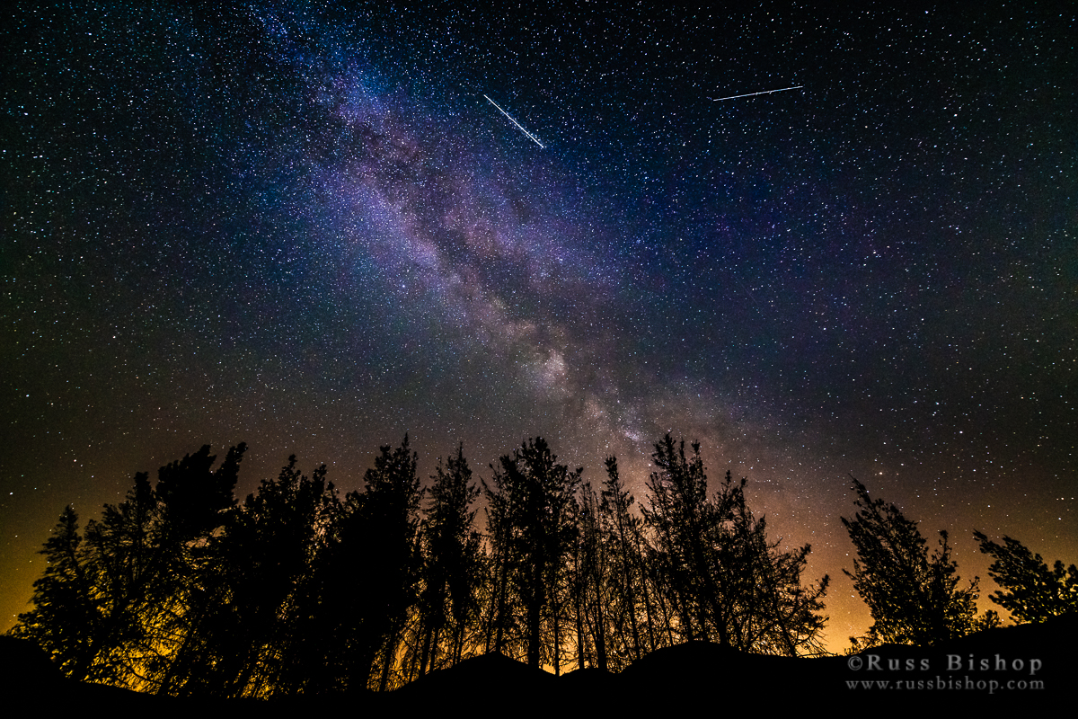 The Milky Way and Perseid meteors, Los Padres National Forest, California