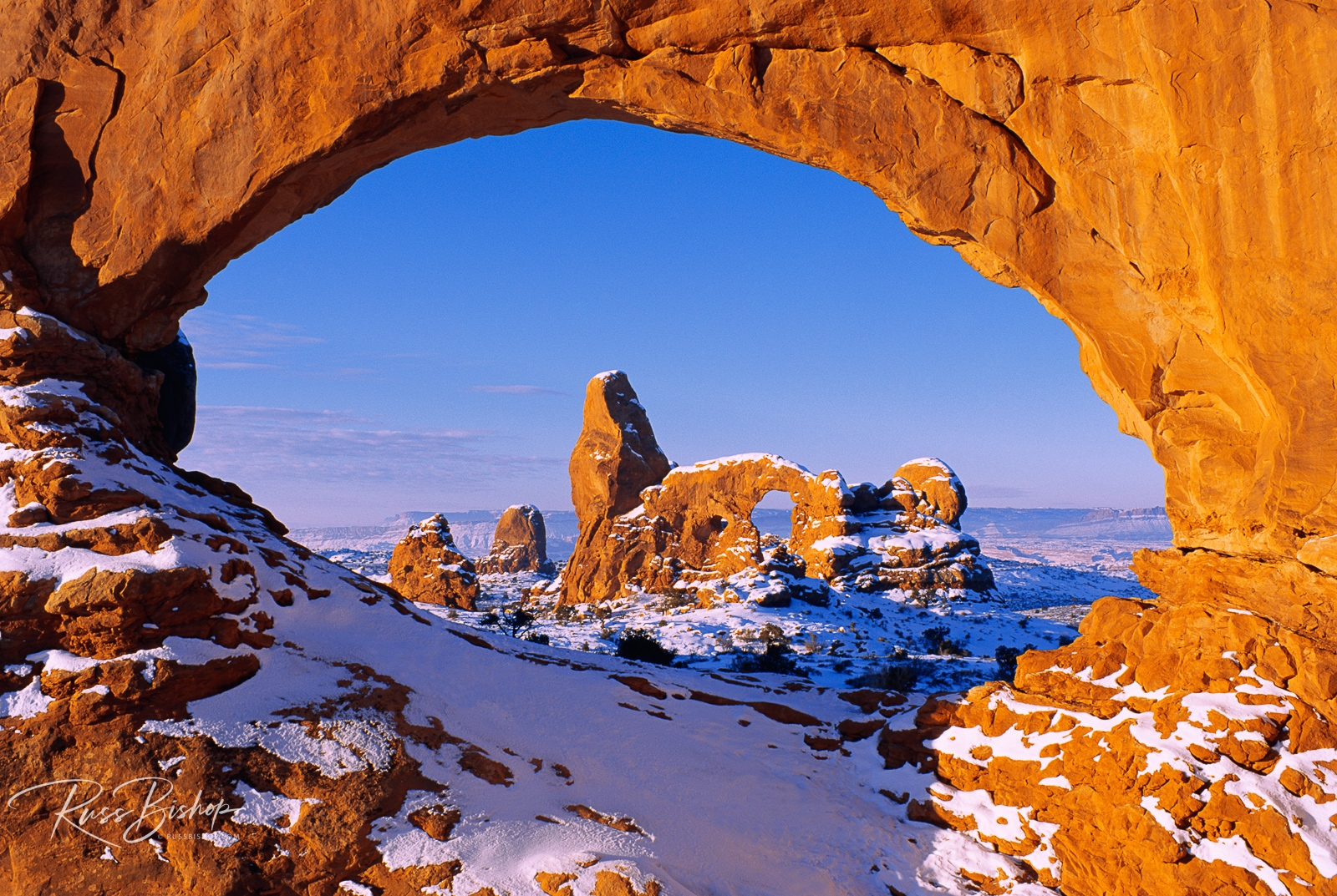 North Window framing Turret Arch in winter, Arches National Park, Utah